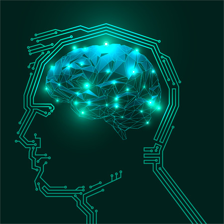 coder: Vector Illustration of a Human Digital Head Silhouette with a Brain. Illustration