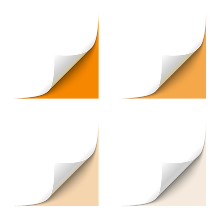 turn the corner: Curled White Paper Corner with Orange Background Illustration