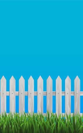 White Wooden Plate Fence and Grassy Meadow in front of Blue Background. Vector Illustration Vector