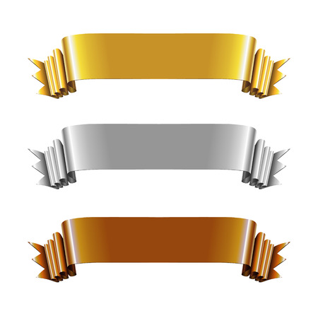 Set of Gold, Silver and Bronze Ribbons. Vector Illustration