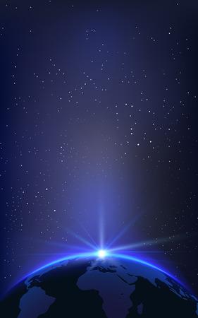 Fondo con el Planeta Tierra Globe and Sunrise en el espacio. Ilustración vectorial