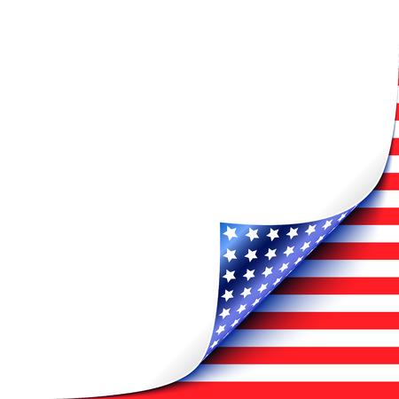 hoja en blanco: Acurrucado Libro Blanco esquina con EE.UU. Bandera Vectores