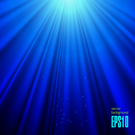 rays light: Light Rays on a Blue Background. Stock Vector Art