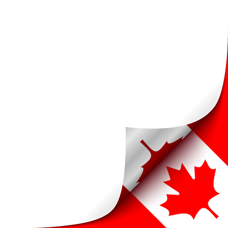 Curled up Paper Corner on Canadian Flag Background. Vector Background for your Design Vettoriali