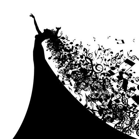 musica clasica: Silueta de la cantante de �pera con el cabello como notas musicales. Ilustraci�n vectorial