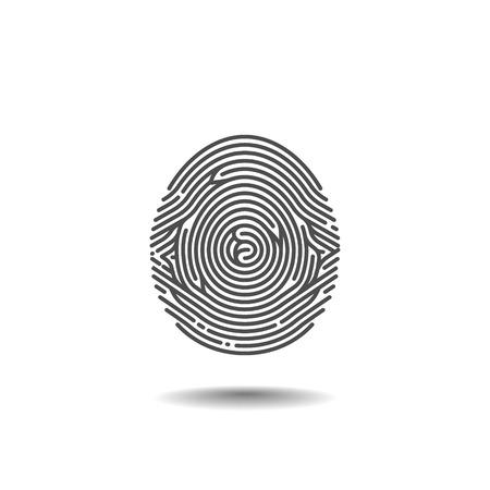 odcisk kciuka: Stylizowane odcisk na białym tle. Ilustracja wektorowa
