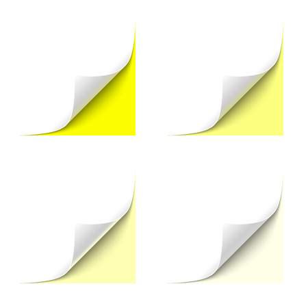 turn the corner: Curled White Paper Corner with Yellow Background