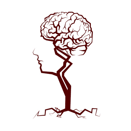 人間の頭と脳のツリー形状の抽象的なクラウン。ベクトル図