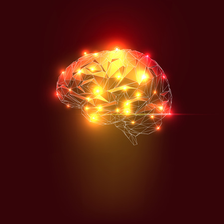 Abstract Human Brain with Lights. Vector Illustration