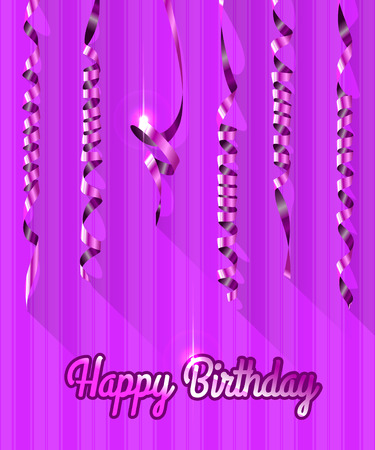 welcoming party: Happy Birthday Background with Gold Streamers . Vector Illustration.