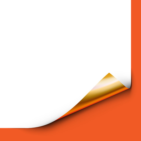 page corner curl: Curled White Paper Corner with Orange Background Illustration