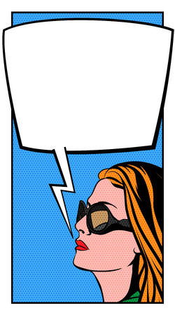 bubble background: Pop Art Woman and Comics Bubble. Dot Layer and Solid Color are in Separate Layers