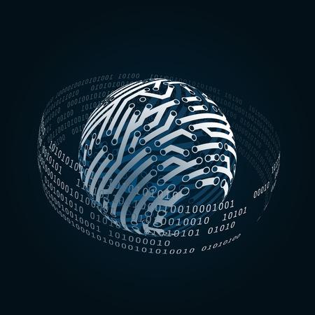 デジタルの世界と電気的な接続。ベクトル図