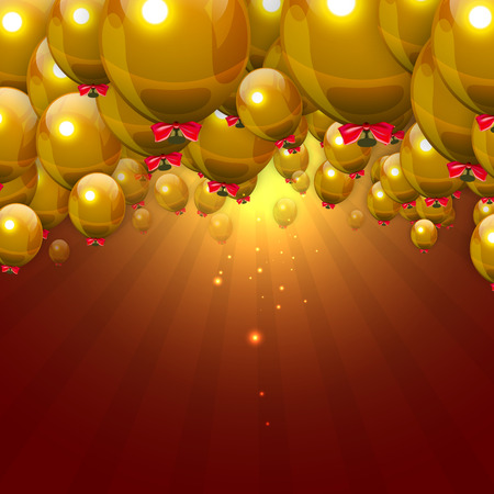 jazzbow: Party Gold Balloons Background with Red Jazzbow . Vector Illustration. Illustration