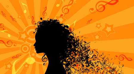 Silhouette of Womans head with Music Hair Background.