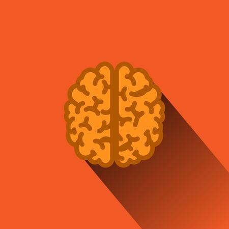 Platte Human Brain met lange schaduw. Stock Illustratie