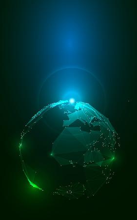Abstract driehoeken Planeet Aarde in de ruimte. Stock Vector Illustratie