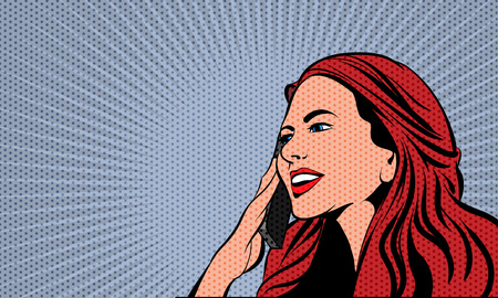 pop art background: Pop Art Comics Woman. Dot Layer and Solid Color are in Separate Layers