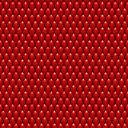 赤いドラゴン スケールのシームレスなパターン背景。ベクトル図  イラスト・ベクター素材