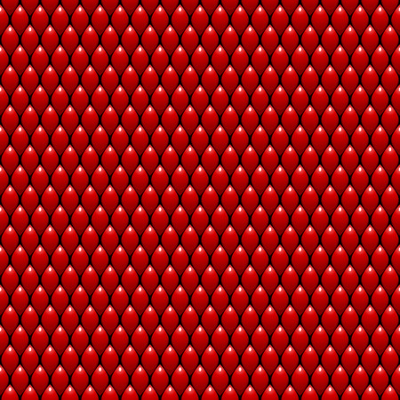 Red Dragon Scales Seamless Pattern Background. Vector Illustration Çizim