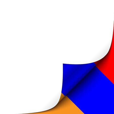 armenian: Curled up Paper Corner on Armenian Flag Background. Vector Background for your Design Illustration