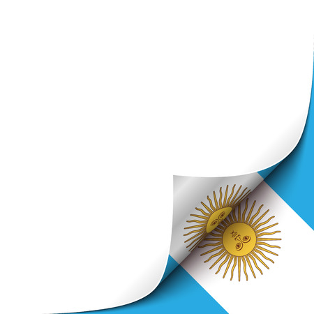 curled up: Curled up Paper Corner on Argentinian Flag Background. Vector Background for your Design Illustration