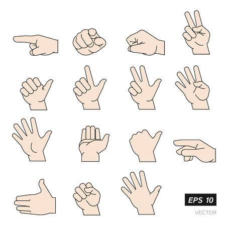 Set van Flat Line Illustrated handen geïsoleerd op een witte achtergrond. Vector Illustratie.