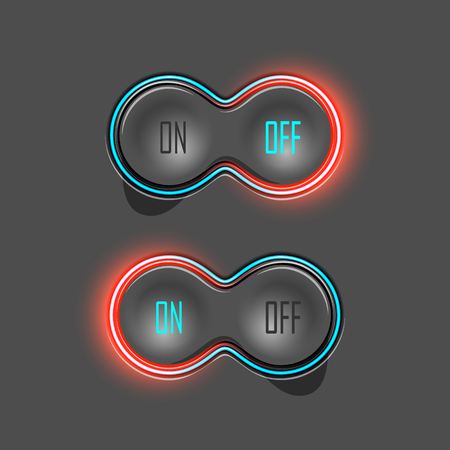 backlight: Button Switches with Backlight. On and Off. Vector Illustration Illustration