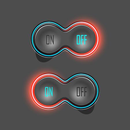 fondo luminoso: Interruptores de bot�n con luz de fondo. On y Off. Ilustraci�n vectorial Vectores