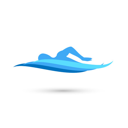 Freestyle Swimmer Silhouette with Water Pool Waves. Stock Vector Illustration Vettoriali