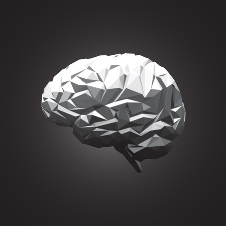 Paper Abstract Human Brain on Dark Background. Vector Illustration