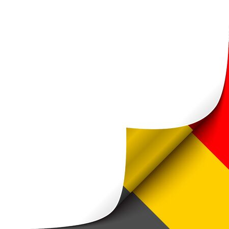 Curled up Paper Corner on Belgian Flag Background. Vector Background for your Design Vector