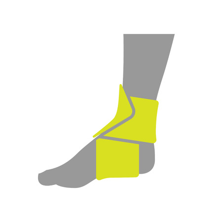 compression: Icon of Elastic Orthopedic Compression Bandage for Ankle Isolated on White Background. Vector Illustration