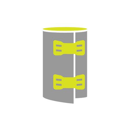 immobilize: Flat Icon of Elastic Bandage Roll Isolated on White Background. Vector Illustration Illustration
