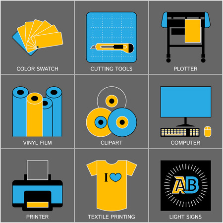 cutting: Set of Flat Line Design Icons for Sign-making Tools and Equipment. Illustration