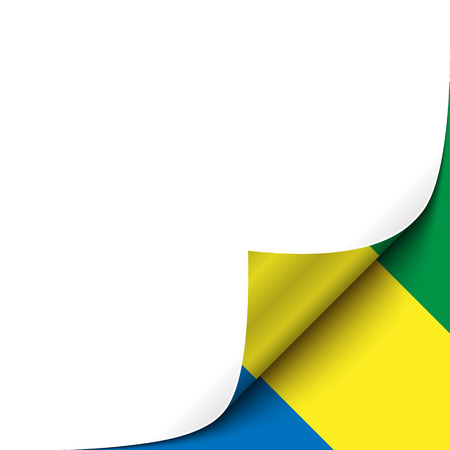 curled up: Curled up Paper Corner on Gabonese Flag Background. Vector Illustration for your Page Design Illustration