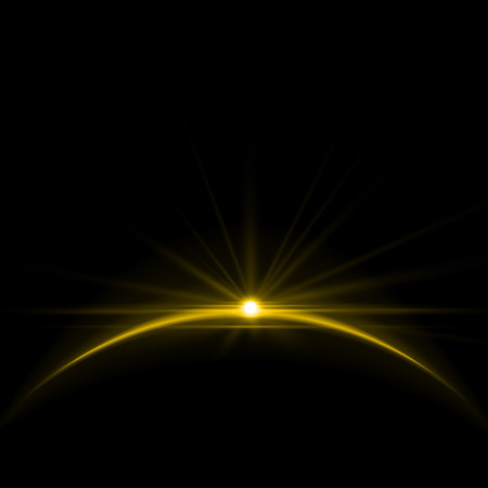 Vector Illustration of Shining Sun Over the Planet in the Universe Vector