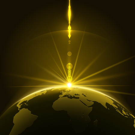 corporate world: Abstract Shining Sun Over the Planet Earth in the Universe Background. Vector Illustration Illustration