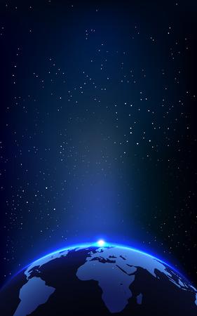Abstract Shining zon boven de Aarde in het heelal Achtergrond. Vector Illustratie