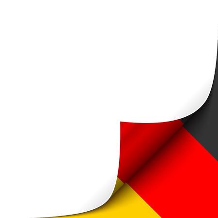 ドイツの旗の背景紙の角をカールしました。あなたのデザインのベクトル図  イラスト・ベクター素材