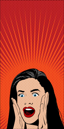solid color: Vector Pop Art Comics Shocked Woman on Red Background. Dotted Pattern and Solid Color are Separate Layers.