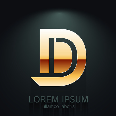 d: Vector Gold Letter D Shape  Element on Dark Background Illustration