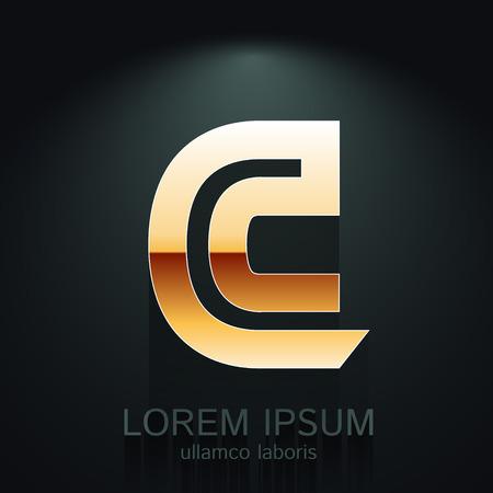 Vector Gold Letter C Shape  Element on Dark Background
