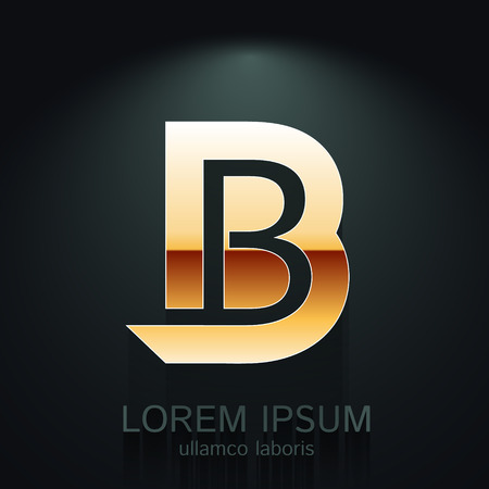 letters gold: Vector Gold Letter B Shape Logo Element on Dark Background