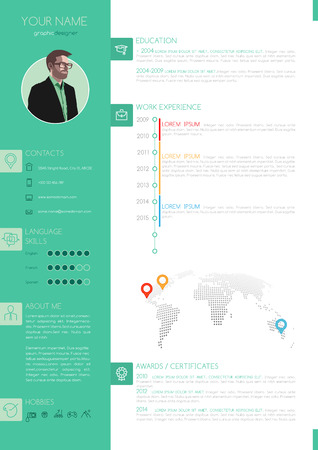 minimalist style: Vector Elegant Minimalist Style CV - Resume Template - Green White Color Design Version