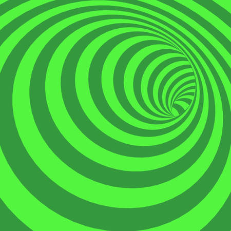 Green Spiral Striped Abstract Tunnel Background. Vector Illustration Ilustracja