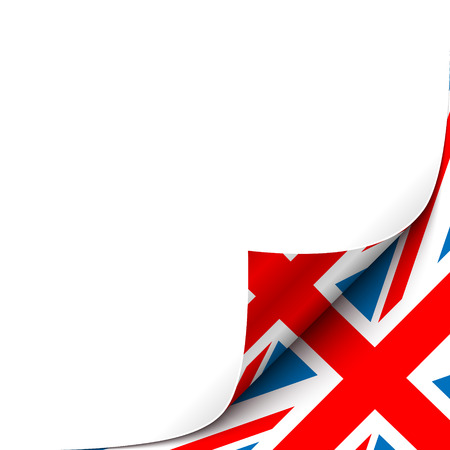 great: Curled Paper Corner with Great Britain Flag Background. Vector Illustration