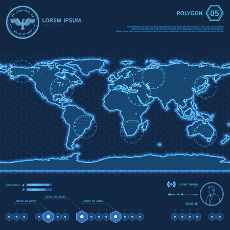 satellite in space: Blue Polygon World Map HUD Screen.  Vector Illustration