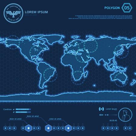 Blue Polygon World Map HUD Screen.  Vector Illustration