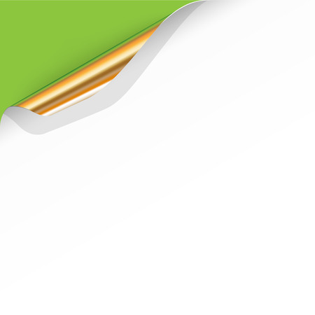 Vector Curled White Paper Corner with Gold Back Side on Green Background